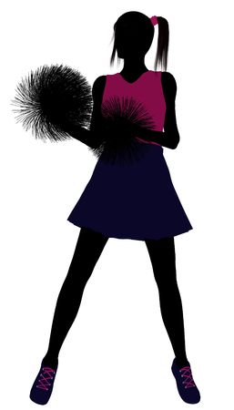 Female cheerleader silhouette on a white background Stock Photo - 6205382