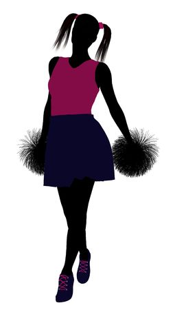 Female cheerleader silhouette on a white background  Stock Photo - 6206705