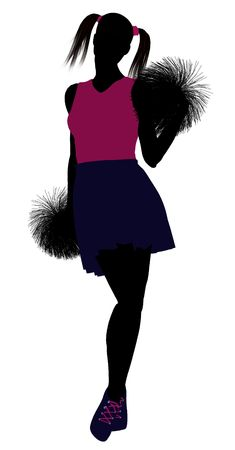 Female cheerleader silhouette on a white background Stock Photo - 6206650