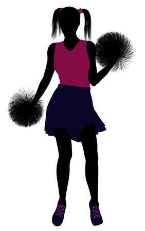 Female cheerleader silhouette on a white background  Stock Photo - 6206676