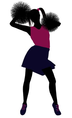 Female cheerleader silhouette on a white background Stock Photo - 6206689