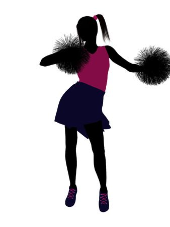 Female cheerleader silhouette on a white background Stock Photo - 6206716