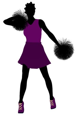 Female cheerleader silhouette on a white background Stock Photo - 6206690
