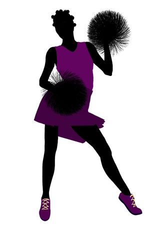 Female cheerleader silhouette on a white background  photo