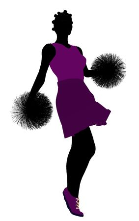 Female cheerleader silhouette on a white background Stock Photo - 6206711
