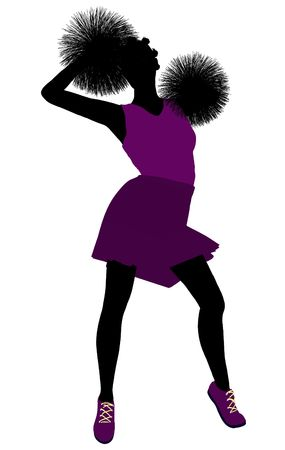 Female cheerleader silhouette on a white background Stock Photo - 6206688