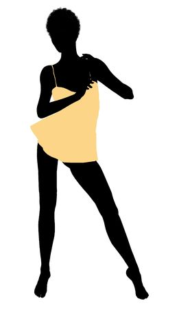 nighty: African american lingerie illustration silhouette on a white background
