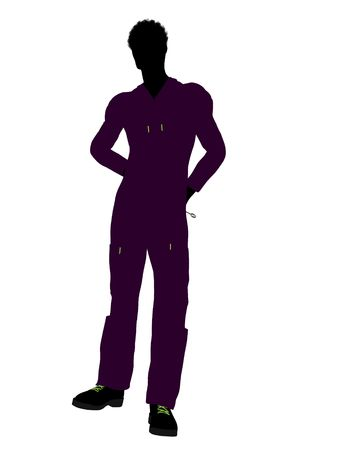 machinist: African american mechanic illustration silhouette on a white background