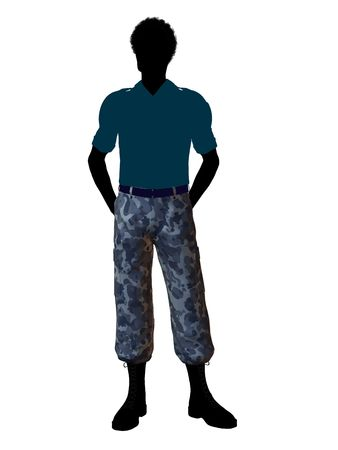 guerrilla: Male soldier casually dressed silhouette on a white background