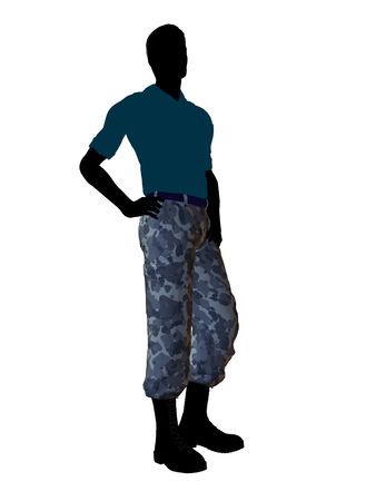 Mannelijke soldaat terloops gekleed silhouet op een witte achtergrond
