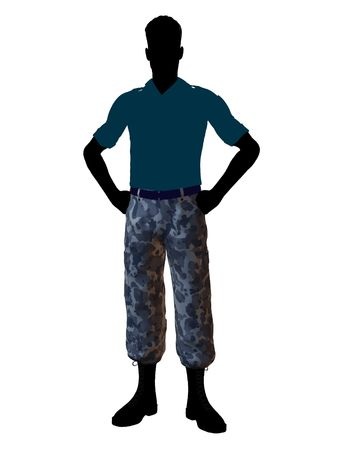 trooper: Male soldier casually dressed silhouette on a white background