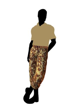 enlisted man: Male soldier casually dressed silhouette on a white background