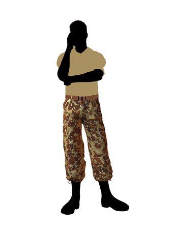 Terloops gekleed silhouet van de mannelijke soldaat op een witte achtergrond  Stockfoto