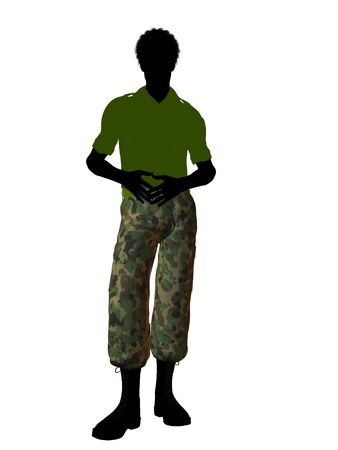 Male soldier casually dressed silhouette on a white background