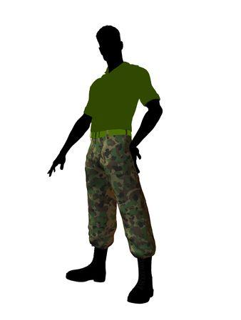 Terloops gekleed silhouet van het mannelijke soldaat op een witte achtergrond Stockfoto
