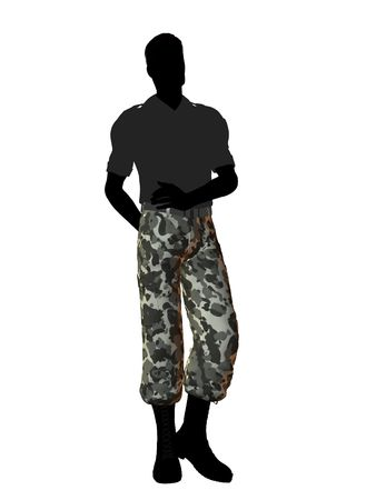 Mannelijke soldaat nonchalant karkas silhouet op een witte achtergrond Stockfoto
