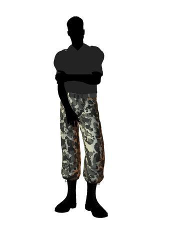 Terloops gekleed silhouet mannelijke soldaat op een witte achtergrond