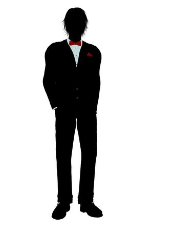 Man dressed in a tuxedo silhouette illustration on a white background Stock Illustration - 6277849
