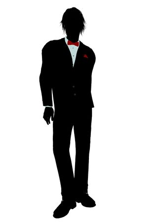 Man dressed in a tuxedo silhouette illustration on a white background Stock Illustration - 6277958