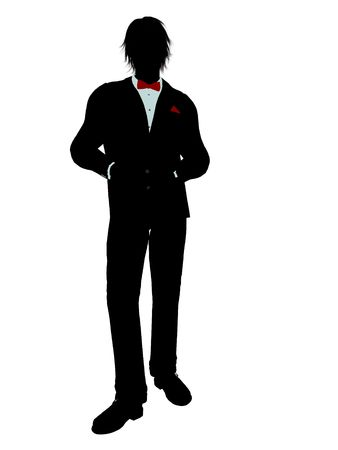 Man dressed in a tuxedo silhouette illustration on a white background Stock Illustration - 6277902