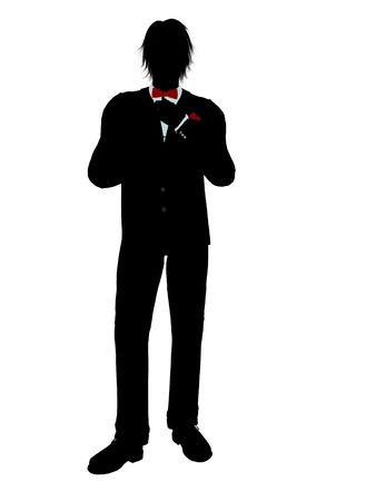흰 배경에 턱시도 실루엣 일러스트를 입은 남자