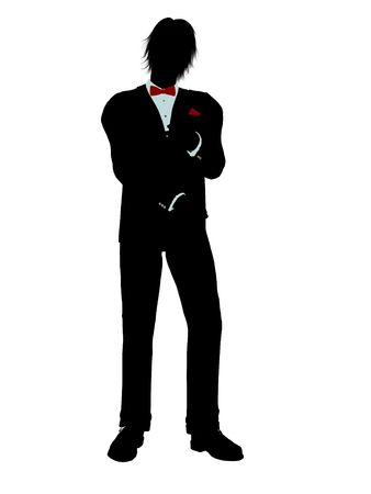 Man dressed in a tuxedo silhouette illustration on a white background Stock Illustration - 6277996