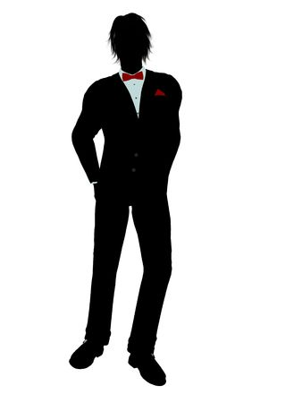 Man dressed in a tuxedo silhouette illustration on a white background Stock Illustration - 6277816