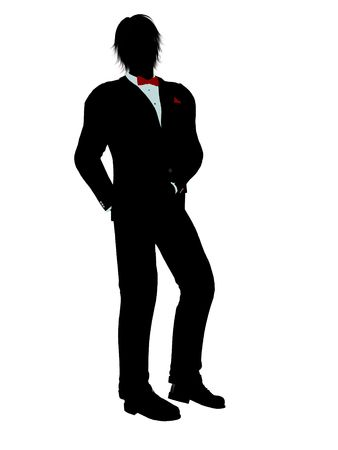 Man dressed in a tuxedo silhouette illustration on a white background Stock Illustration - 6277963