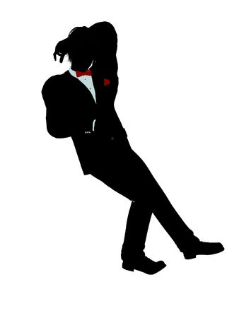 Man dressed in a tuxedo silhouette illustration on a white background