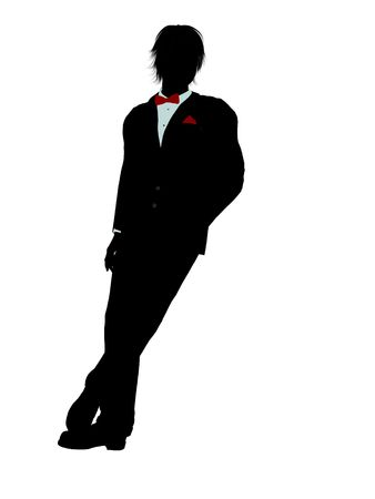 dinner wear: Man dressed in a tuxedo silhouette illustration on a white background