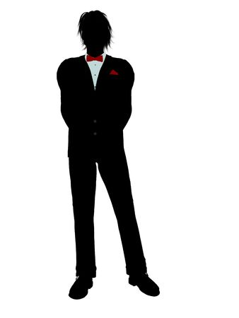Man dressed in a tuxedo silhouette illustration on a white background Stock Illustration - 6278010
