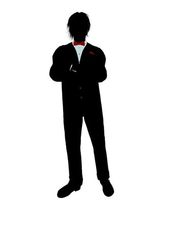 formalwear: Man dressed in a tuxedo silhouette illustration on a white background