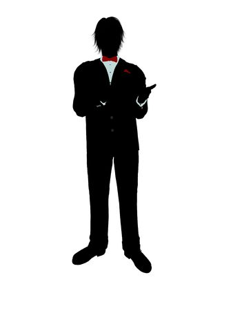 Man dressed in a tuxedo silhouette illustration on a white background Stock Illustration - 6278006