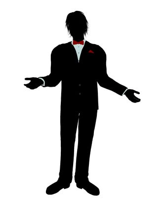 Man dressed in a tuxedo silhouette illustration on a white background Stock Illustration - 6278020