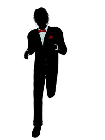 Man dressed in a tuxedo silhouette illustration on a white background Stock Illustration - 6277848