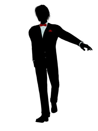 Man dressed in a tuxedo silhouette illustration on a white background Stock Illustration - 6277874