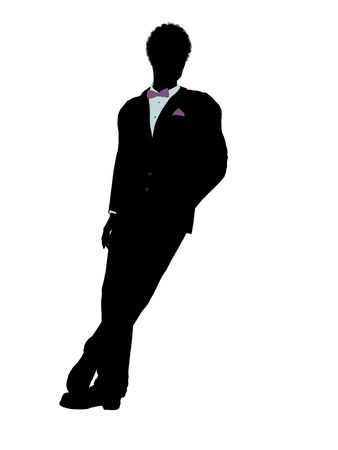 african american silhouette: African american man dressed in a tuxedo silhouette illustration on a white background
