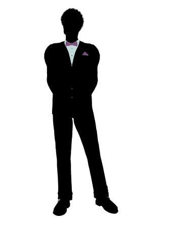 African american man dressed in a tuxedo silhouette illustration on a white background illustration