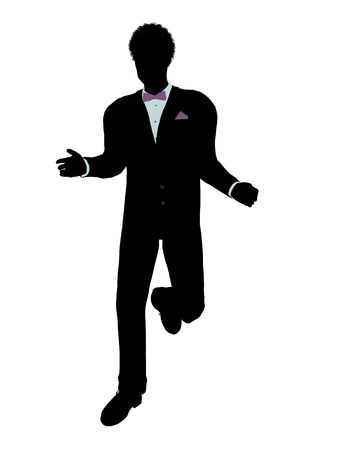 African american man dressed in a tuxedo silhouette illustration on a white background Stock Illustration - 6277813