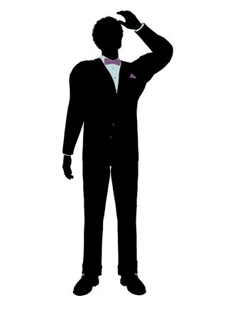 formalwear: African american man dressed in a tuxedo silhouette illustration on a white background