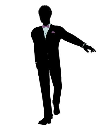 African american man dressed in a tuxedo silhouette illustration on a white background