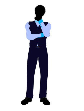 African american business man silhouette illustration on a white background