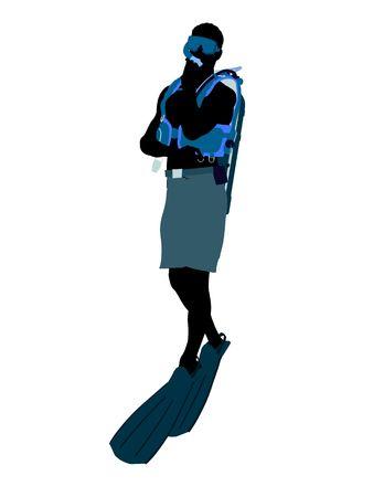 Mannelijke scuba duiker kunst illustratie silhouet op een witte achtergrond Stockfoto