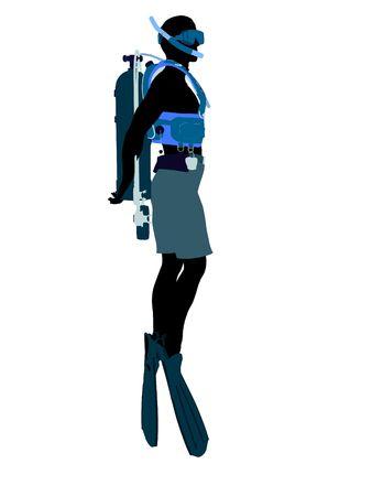 白の背景に男性スクーバダイバー アート イラスト シルエット 写真素材 - 6278142