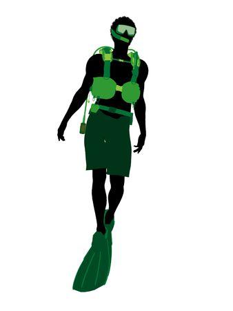 白い背景の上のアフリカ系アメリカ人男性スクーバダイバー アート イラスト シルエット 写真素材 - 6278164