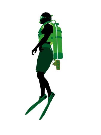 白い背景の上のアフリカ系アメリカ人男性スクーバダイバー アート イラスト シルエット