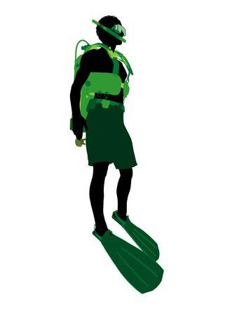 白い背景にアフリカ系アメリカ人男性スキューバ ダイバー アート イラスト シルエット