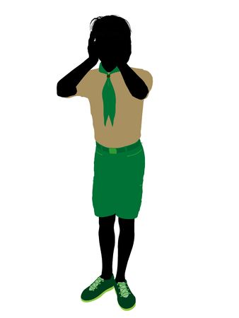 scouts: Boyscout silhouette dressed in shorts on a white background