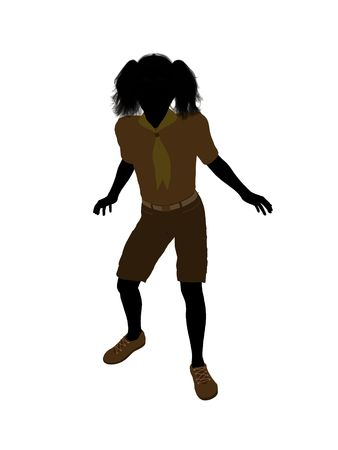 Girl scout silhouette dressed in shorts on a white background Stock fotó