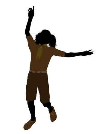 girl scout: Girl scout silhouette dressed in shorts on a white background Stock Photo